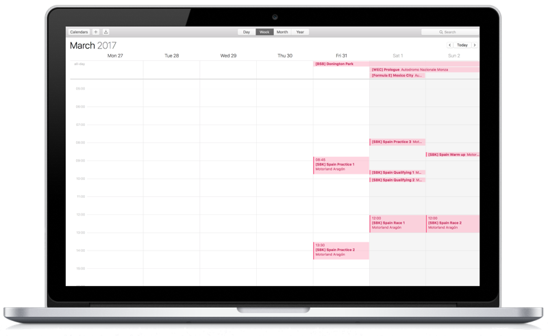 Calendar on MacBook